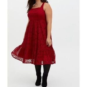🆕Torrid Red Lace Square Neck Midi Skater Dress 18
